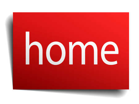 isolated paper: home red square isolated paper sign on white