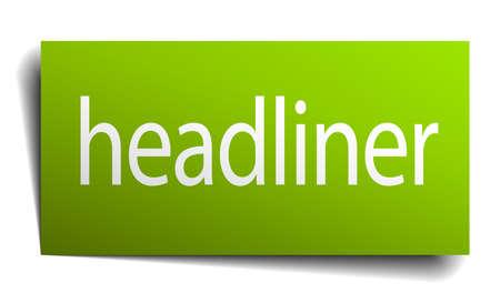 headliner: headliner green paper sign isolated on white Illustration