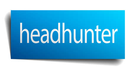 headhunter: headhunter blue square isolated paper sign on white