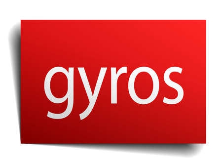 gyros: gyros red square isolated paper sign on white