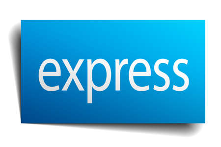 on white background: express blue paper sign on white background Illustration
