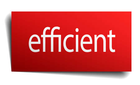 efficient: efficient red square isolated paper sign on white