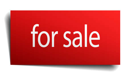 for sale: for sale red paper sign on white background