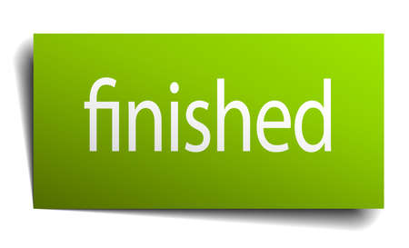 finished: finished green paper sign isolated on white