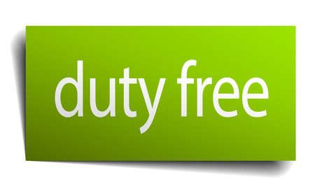 duty: duty free green paper sign isolated on white