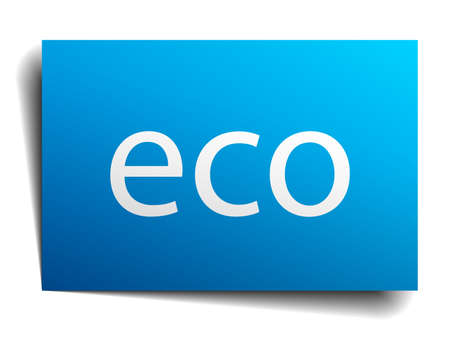 eco notice: eco blue paper sign on white background