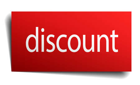 isolated paper: discount red square isolated paper sign on white Illustration