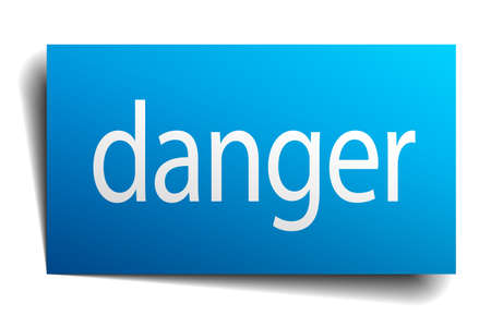 isolated paper: danger blue square isolated paper sign on white Illustration