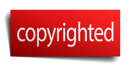 copyrighted: copyrighted red paper sign isolated on white