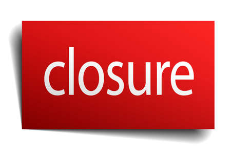 closure: closure red paper sign isolated on white