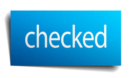 checked: checked blue paper sign on white background