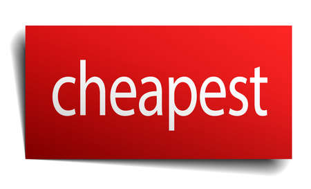 cheapest: cheapest red paper sign isolated on white