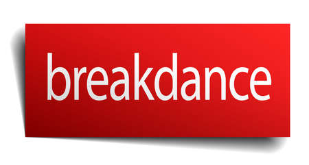 breakdance: breakdance red paper sign isolated on white