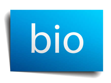isolated paper: bio blue square isolated paper sign on white Illustration
