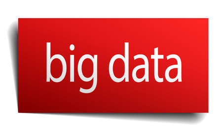 big data red paper sign isolated on white Vector