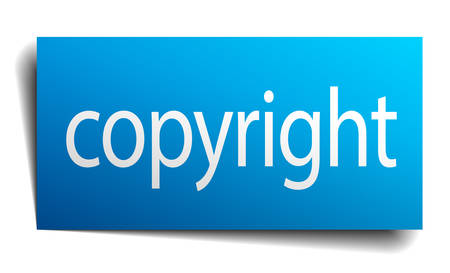 isolated paper: copyright blue square isolated paper sign on white Illustration