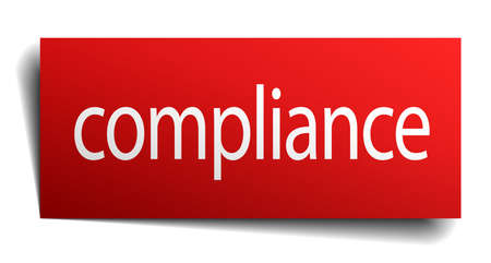 compliance: compliance red paper sign isolated on white Illustration