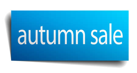 isolated paper: autumn sale blue square isolated paper sign on white