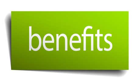 Beneficia signo de papel verde sobre fondo blanco Foto de archivo - 39774297