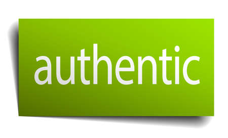 authentic: authentic green paper sign on white background Illustration
