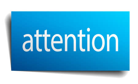 isolated paper: attention blue square isolated paper sign on white