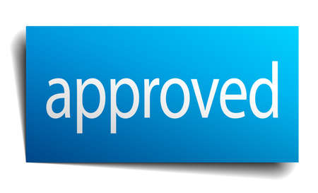 isolated paper: approved blue square isolated paper sign on white