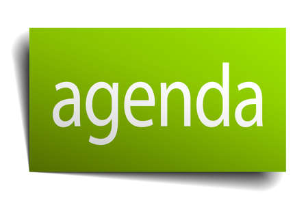 on white background: agenda green paper sign on white background