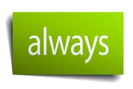 toujours verte signe de papier sur fond blanc
