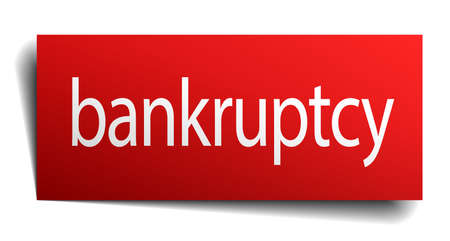 bankruptcy: bankruptcy red paper sign isolated on white