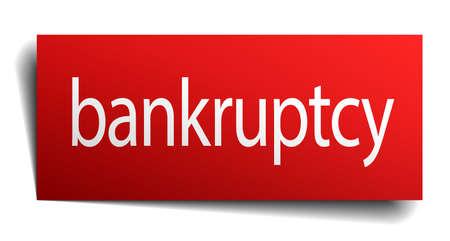 faillite: faillite rouge signe de papier isol� sur blanc Illustration
