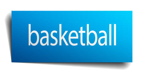 isolated paper: basketball blue square isolated paper sign on white Illustration