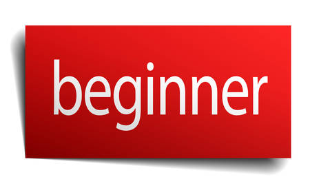 beginner: beginner red paper sign isolated on white Stock Illustratie
