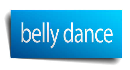 belly button: belly dance blue square isolated paper sign on white
