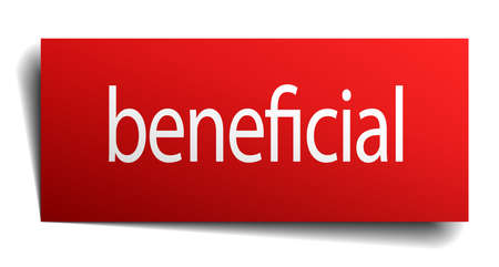 beneficial: beneficial red paper sign isolated on white