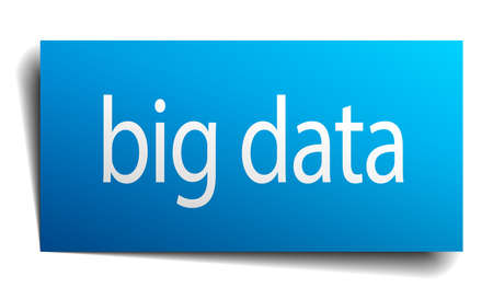 isolated paper: big data blue square isolated paper sign on white Illustration