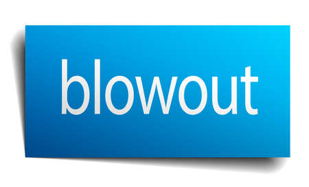 blowout: blowout blue square isolated paper sign on white