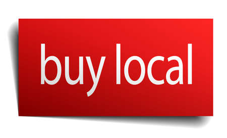 buy local: buy local red paper sign isolated on white Illustration