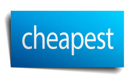 cheapest: cheapest blue paper sign on white background