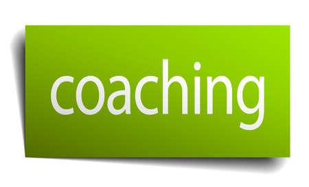 coaching: le coaching vert papier signe sur fond blanc Illustration