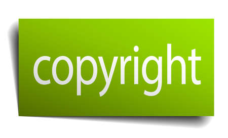 copyrighted: copyright green paper sign on white background