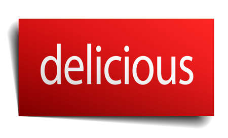 isolated paper: delicious red square isolated paper sign on white
