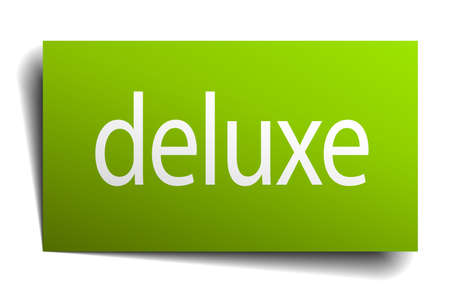 deluxe: deluxe green paper sign on white background