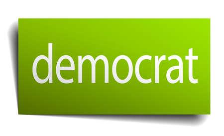 democrat: democrat green paper sign on white background Illustration