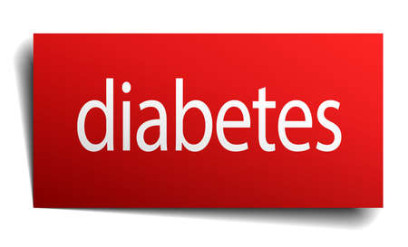 isolated paper: diabetes red square isolated paper sign on white Illustration
