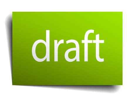 draft green paper sign isolated on white Illustration