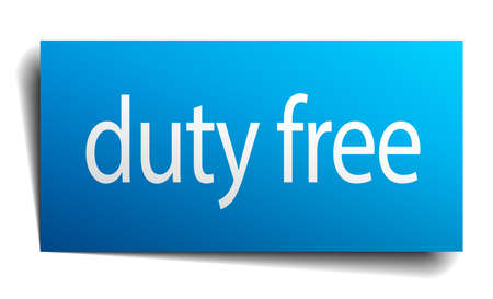 duty: duty free blue paper sign on white background Illustration