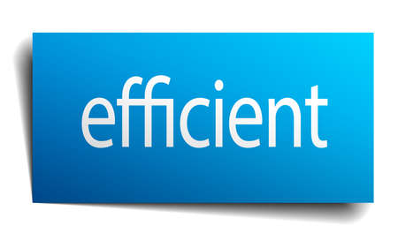 efficient: efficient blue paper sign on white background Illustration