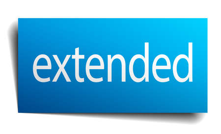 extended blue paper sign on white background