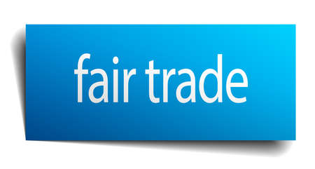 fair trade: fair trade blue paper sign on white background Illustration