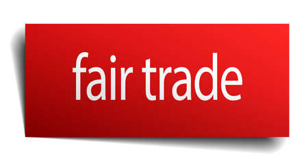 fair trade: fair trade red square isolated paper sign on white